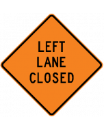 "Roll-up Sign, ""Left Lane Closed"", Black on Orange, Mesh, with Ribs, 36"" x 36"""