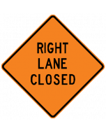 "Roll-up Sign, ""Right Lane Closed"", Black on Orange, Mesh, with Ribs, 36"" x 36"""