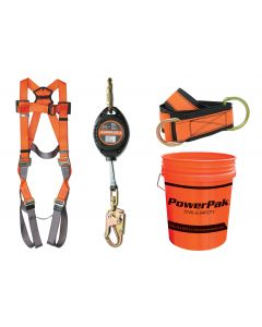 Premium Fall Protection Kit. Kit includes: Universal Harness, 4' Anchor Strap, 11' SRD with carabiner/small hook and storage pail.