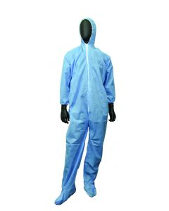Blue FR disposable Coveralls with hoods and boots