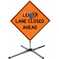 """Roll-up Sign, """"Lane Closed Ahead""""Roll-Up Sign, With Overlay, Black on Orange, Reflective Vinyl, with Ribs, 48"""" X 48"""""""