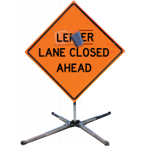 "Sign, Left Lane (Overlay), Velcro, for 48"" x 48"" HI Roll-Up Sign"