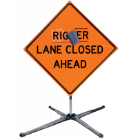 """Sign, Right Lane Overlay, for 48"""" x 48"""" Roll-Up Sign,"""