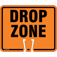 """Cone Sign, """"Drop Zone"""", Capital Letters, Black on Orange, ABS Plastic, 10.5"""" x 12.5"""""""