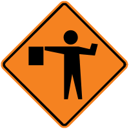 "Sign, ""Road Work Ahead"", Roll-Up, Black on Orange, Diamond Shape, Hi-Intensity Reflective, With Fiberglass Ribs, 36"" x 36"""