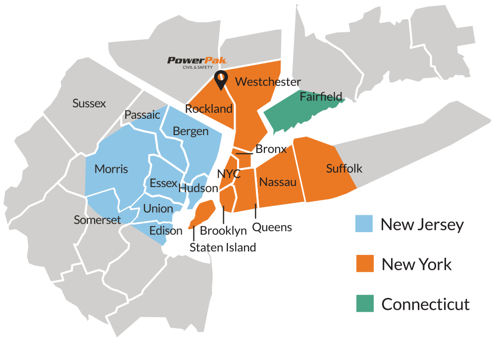 map of New York, New Jersey and Connecticut borders
