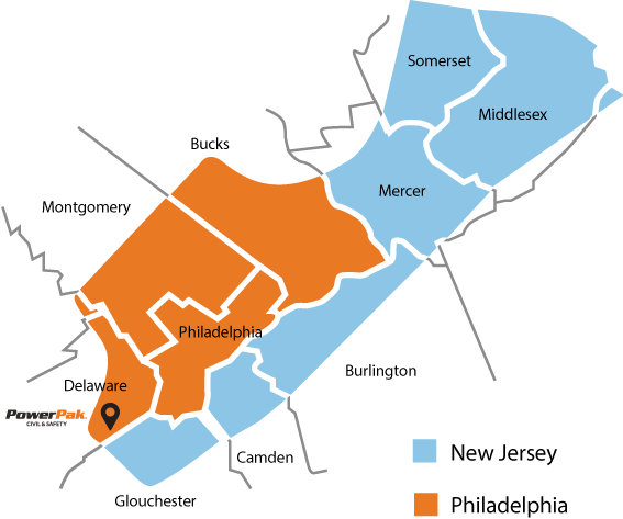 map of Pennsylvania and New Jersey border