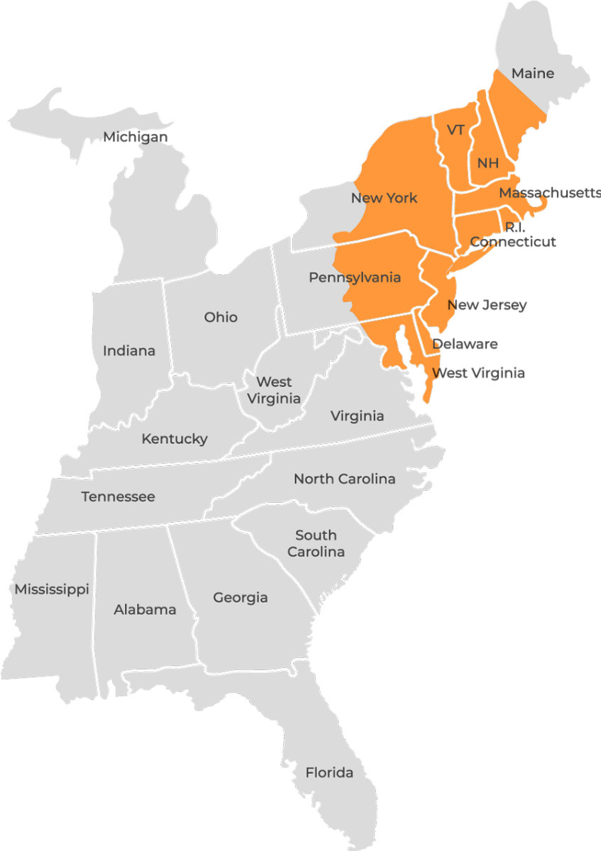 map of northeastern US highlighted